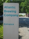 The sign marking the entrance to Atlantic Brewing Company