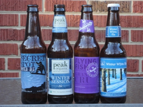 (L-R) Evo Secret Spot, Peak Organic Winter Session Ale, Flying Fish Grand Cru, , Bells Brewery Winter White
