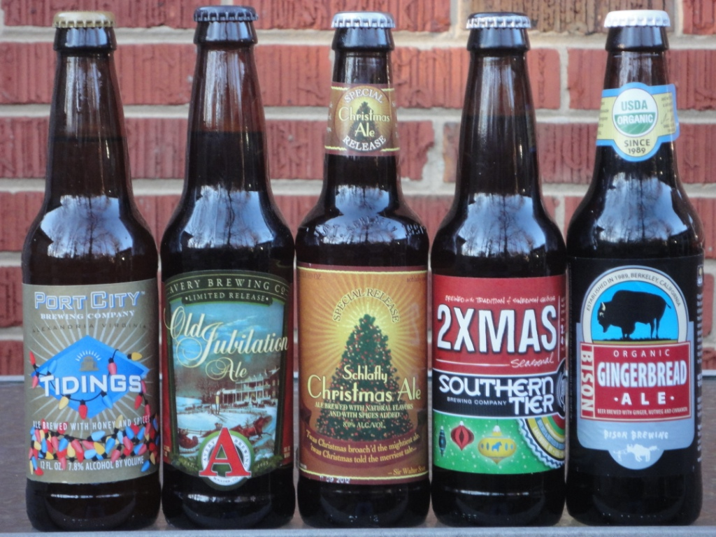 (L-R) Port City Tidings, Avery Old Jubilation Ale, Shlafly Christmas Ale, Southern Tier 2XMAS, Bison Gingerbread Ale