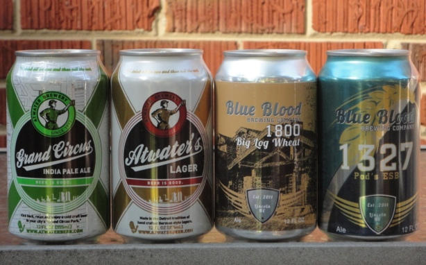 Cans from Atwater Brewery and Blue Blood Brewing Company