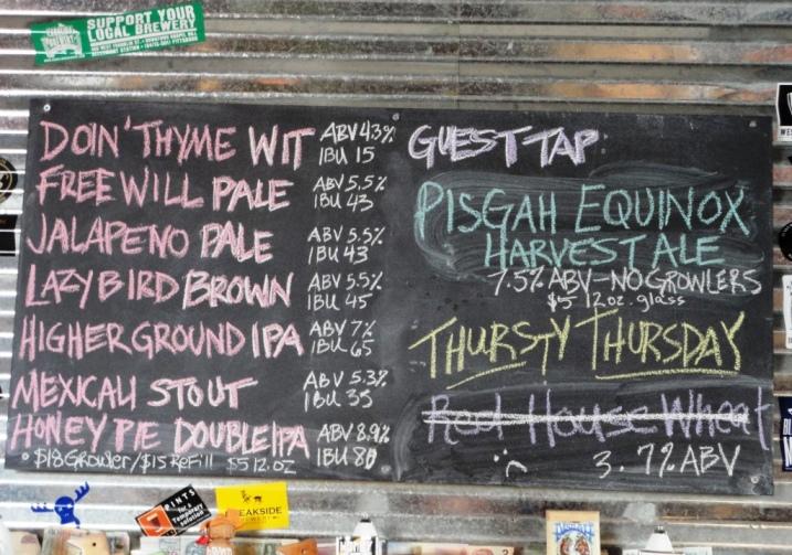 Birdsong Brewing Company chalkboard