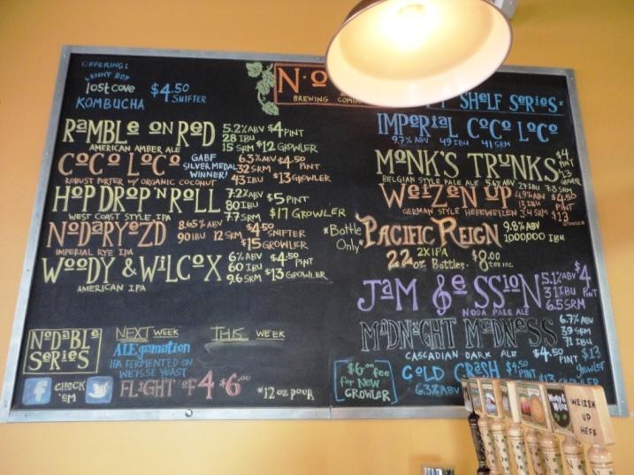 NoDa Brewing Company chalkboard