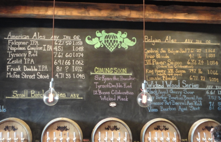 Wicked Weed Brewery Chalkboard