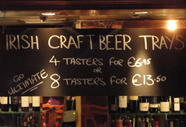Irish Craft Beer Tray sign at The Bull and Castle