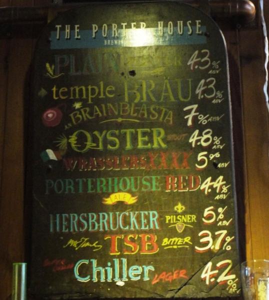 Porterhouse Brewing Company Beer Menu