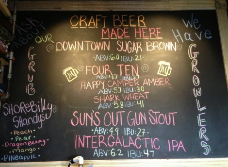 Shorebilly Brewing Company chalkboard