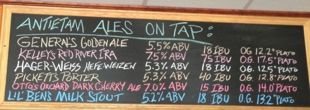 Antietem Brewery beer chalkboard