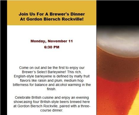Gordon Biersch Beer Dinner Invitation