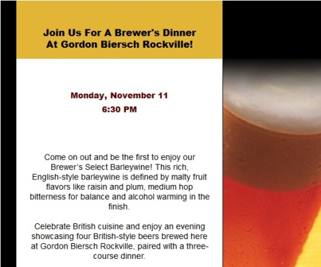 Gordon Biersch Beer Dinner Invitation