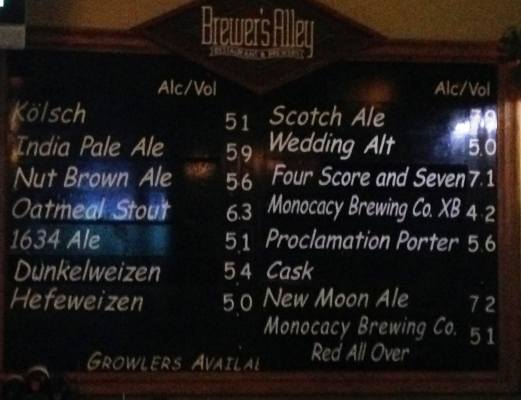 Brewers Alley Chalkboard Dec 2013