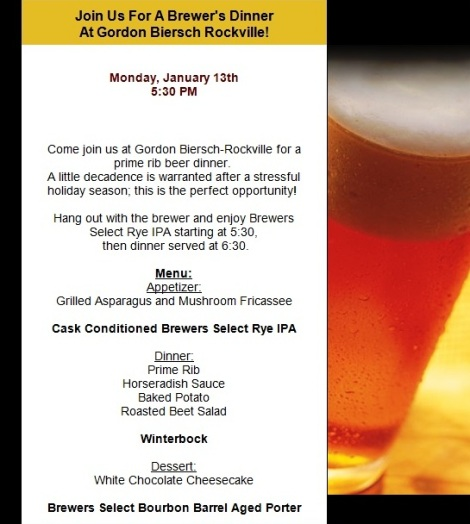Gordon Biersch Prime Rib Beer Dinner Invitation