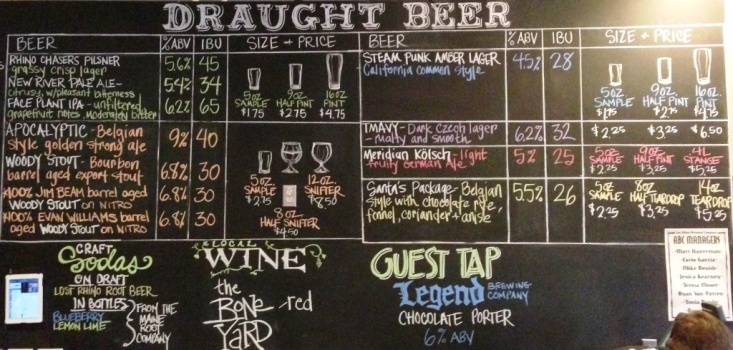 Lost Rhino Beer Chalkboard