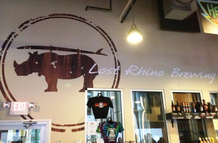 Lost Rhino Brewing Company logo wall