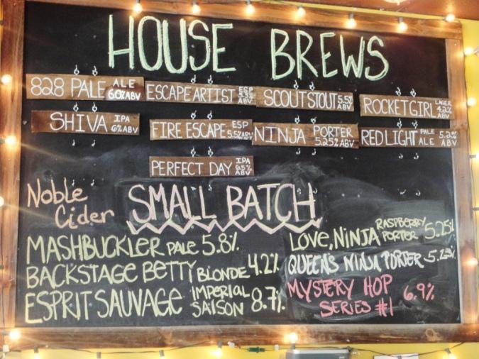 Asheville Brewing Company chalkboard