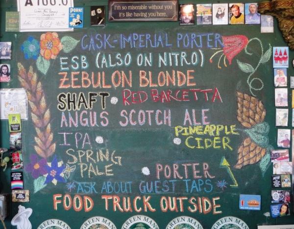 Green Man Brewery Chalkboard