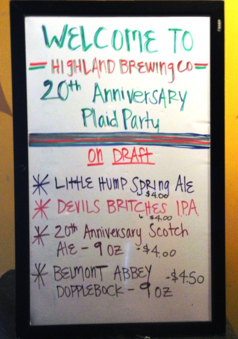 Highland Brewing Company whiteboard