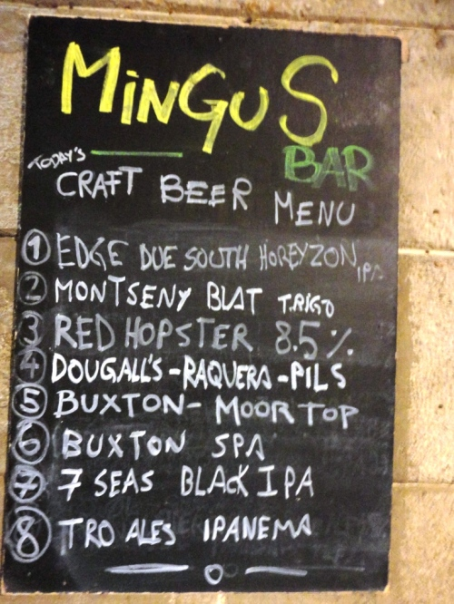 Bar Mingus Beer Chalkboard
