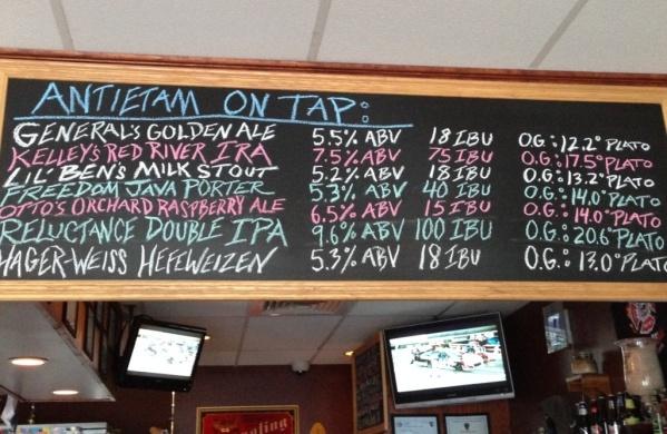 Antietam Brewery chalkboard