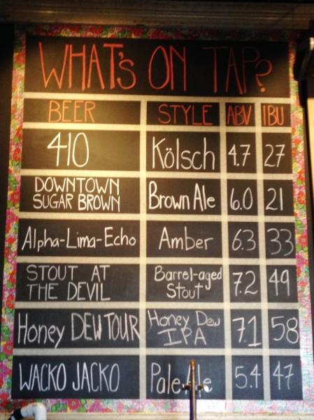 Backshore Brewing Company chalkboard