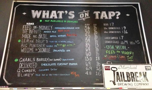 Jailbreak Brewing Company chalkboard