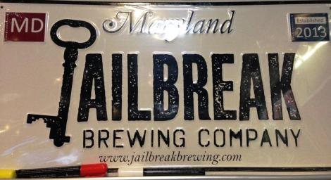 Jailbreak Brewing Company license plate sign