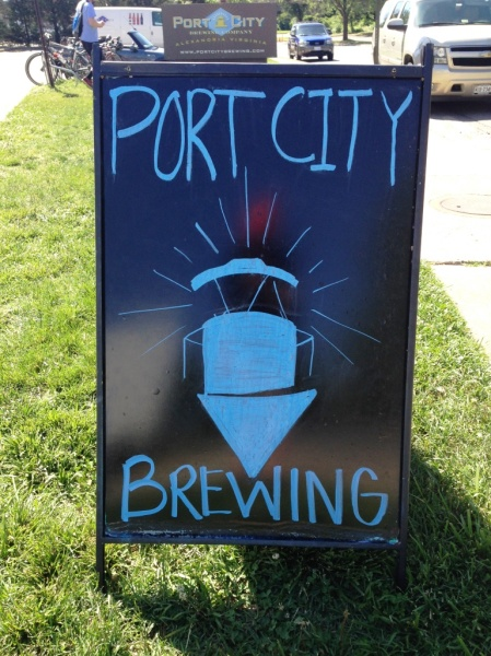 Port City Brewing Company outside chalkboard sign