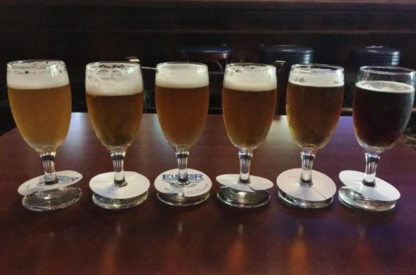 Elevator Brewery flight