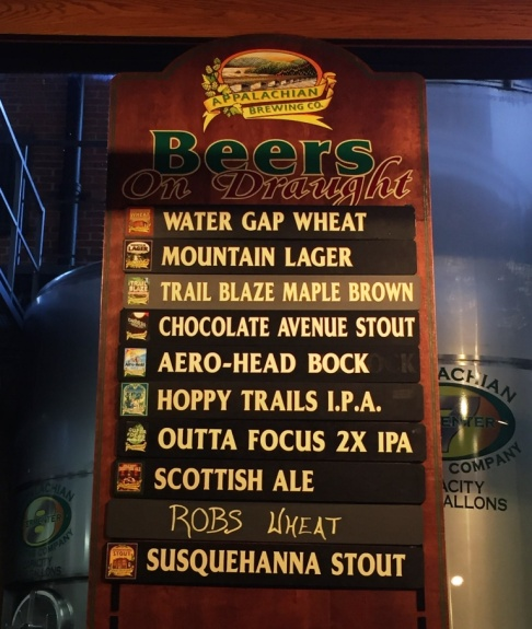 Appalachian Brewing Company beer board