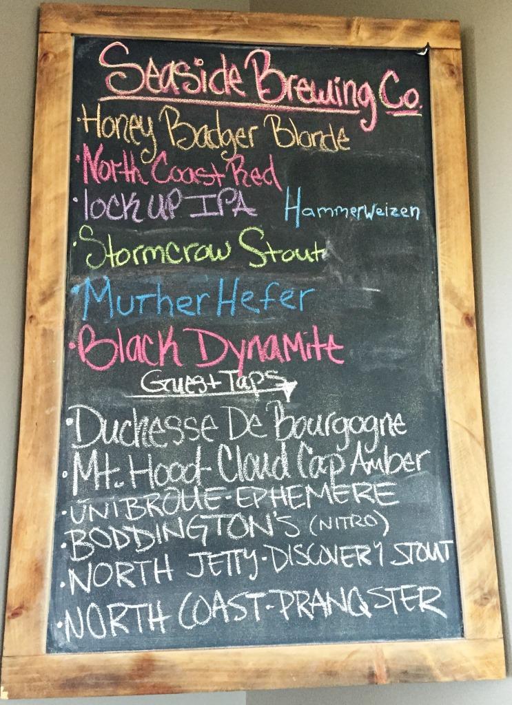 Seaside Brewing Company beer list chalkboard
