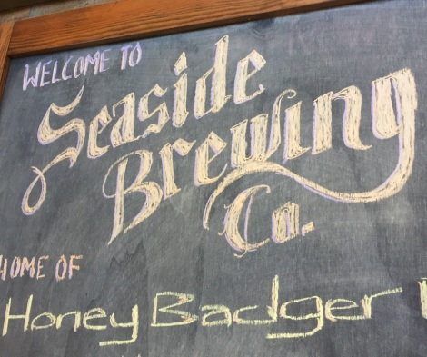 Seaside Brewing Company logo chalkboard