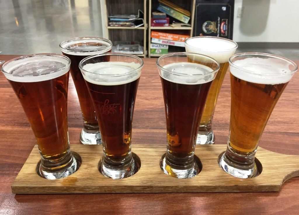 Flying Bison beer sampler