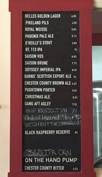 Sly Fox Brewhouse beer menu