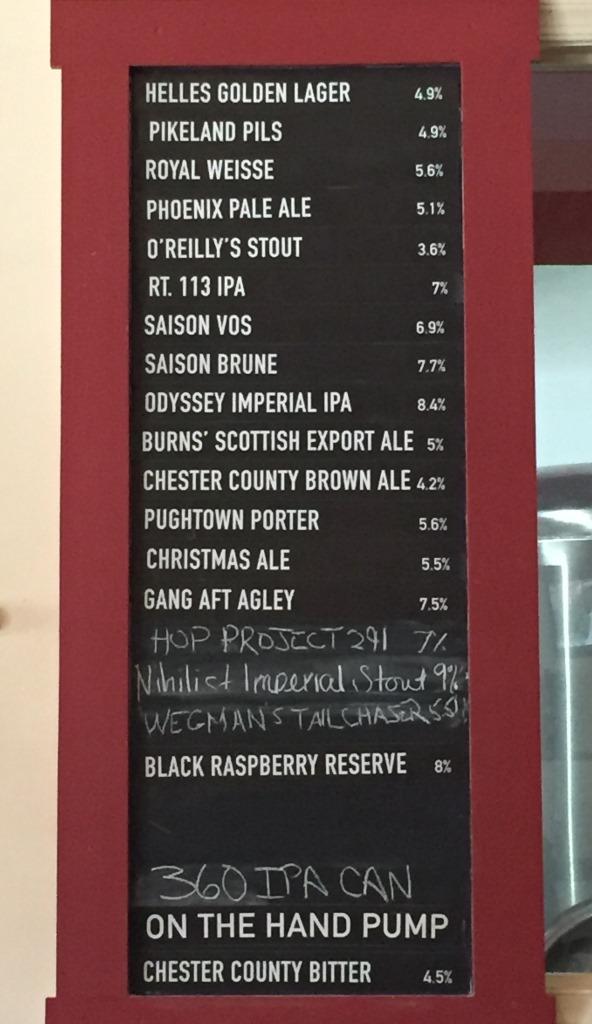 Sly Fox Brewhouse beer menu
