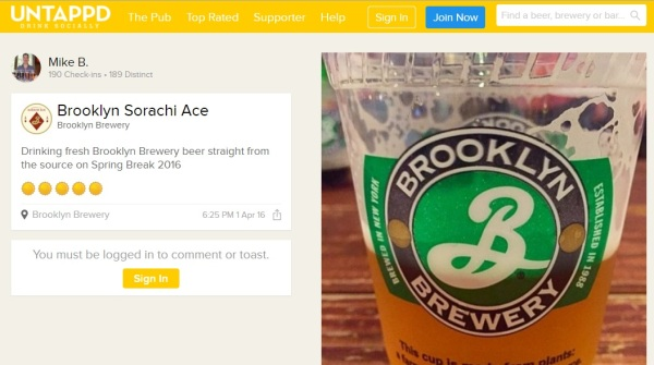 Brooklyn Brewery Check-in