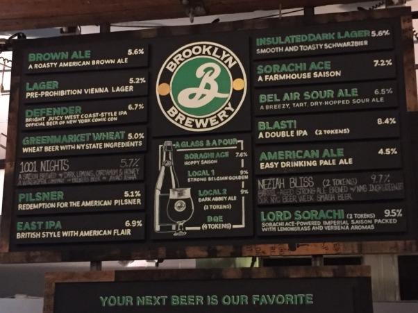 Brooklyn Brewery menu