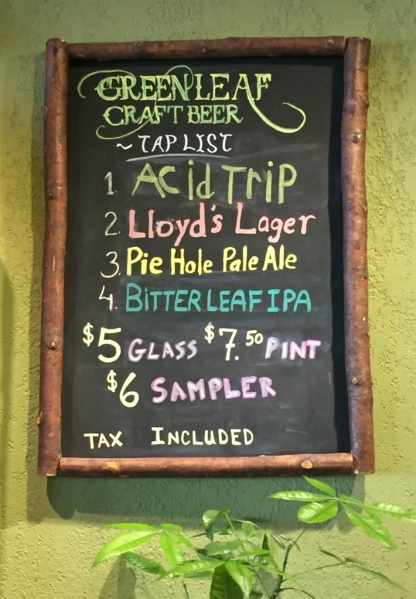 Green Leaf Brewing Company chalkboard