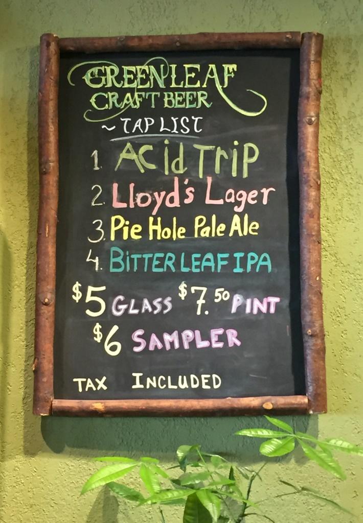 Green Leaf Brewing Company chalkboard