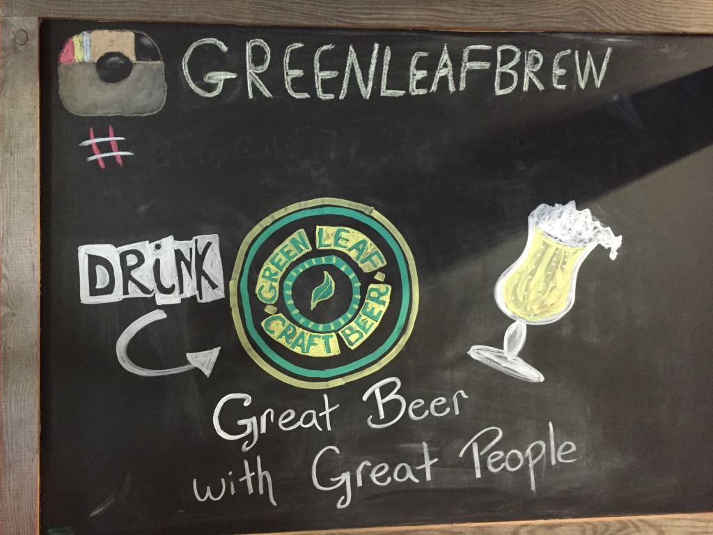 Green Leaf Brewing Company chalkboard2