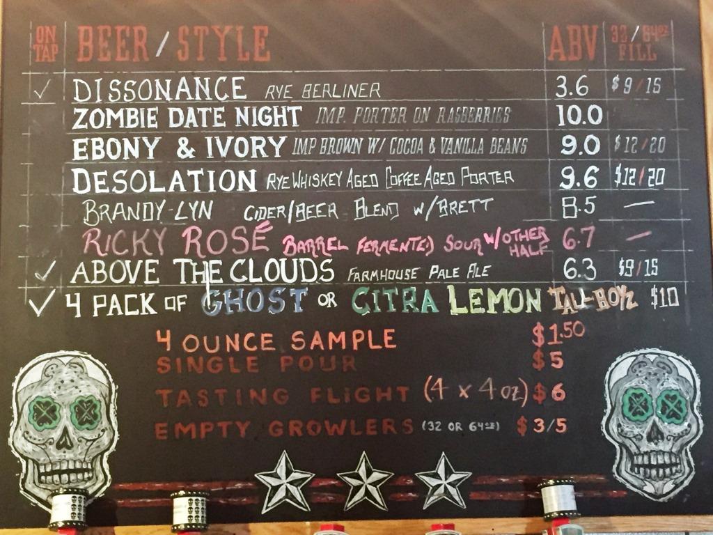 3 Stars Brewing beer menu1