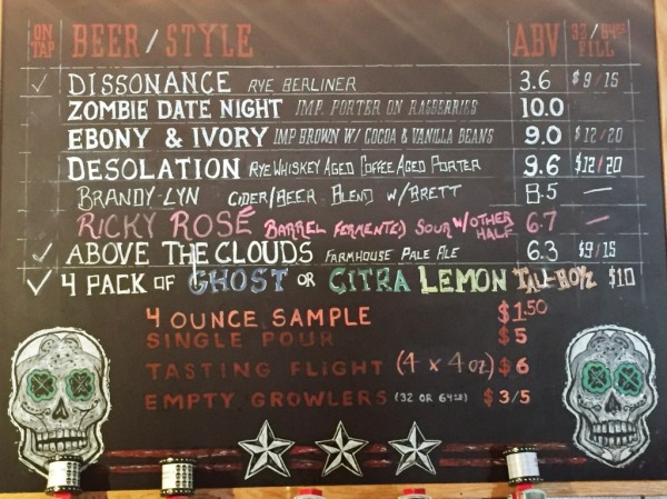 3 Stars Brewing beer menu1