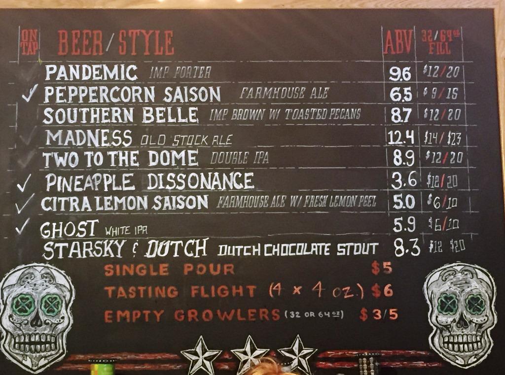 3 Stars Brewing beer menu2