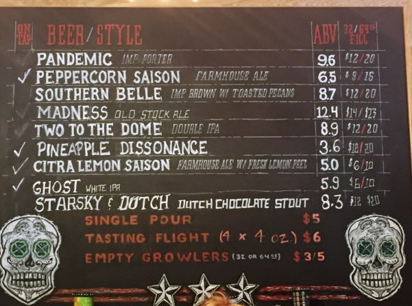 3 Stars Brewing beer menu2