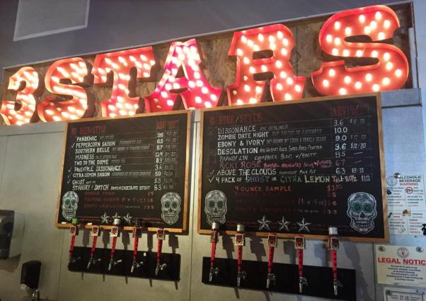 3 Stars Brewing taps and chalkboard