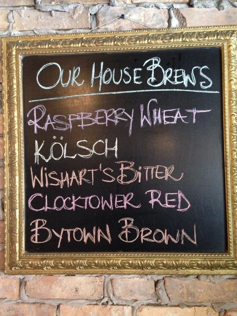 Clocktower Brew Pub chalkboard