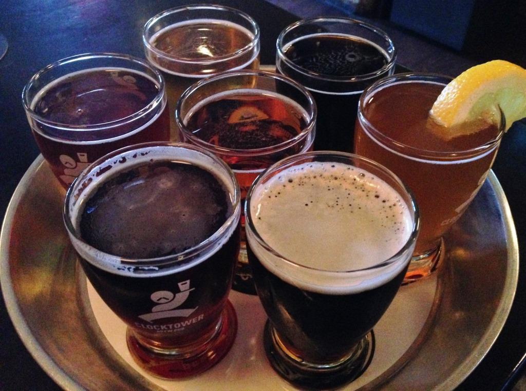 Clocktower Brew Pub flight