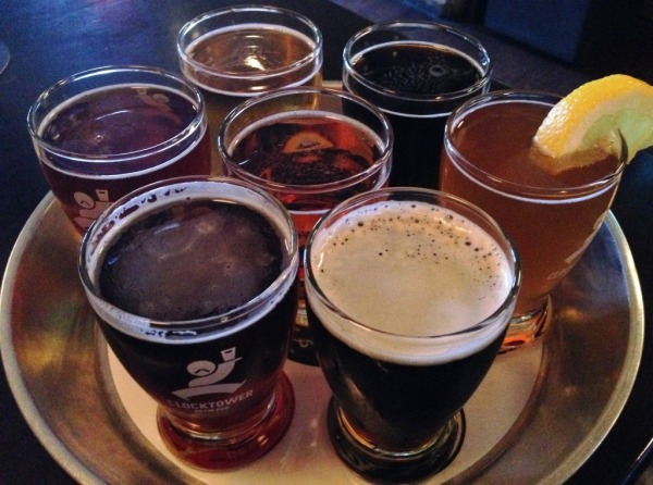 Clocktower Brew Pub flight