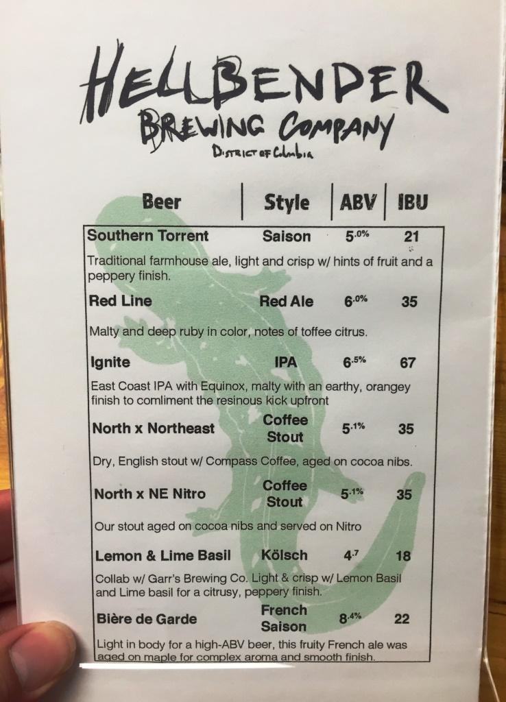 Hellbender beer menu