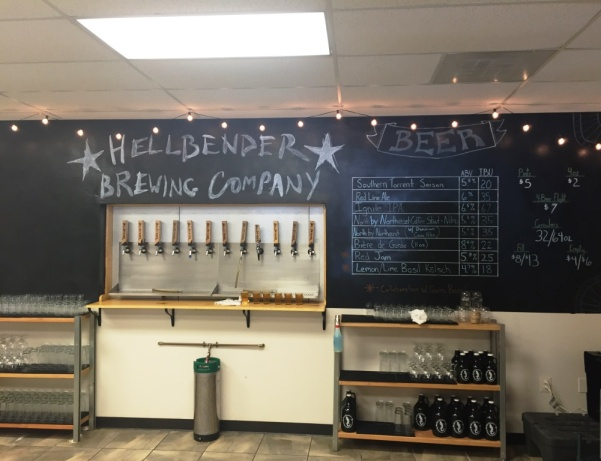 Hellbender taps and chalkboard