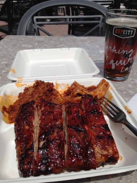 Ribfest meet tray and beer