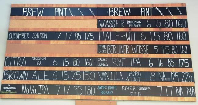 Caboose Brewing Company chalkboard
